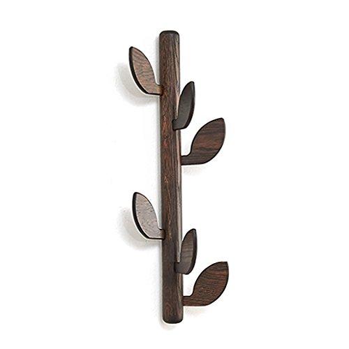 ZfgG 6 crochets porte-manteau en bois massif montés au mur branche d'arbre forme cintre vêtements organisateur de stockage manteau porte-manteau crochet pour maison décoration de chambre à coucher, H2