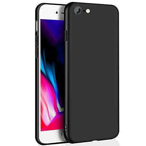Whew Hülle Kompatibel iPhone 7, Hülle Kompatibel iPhone 8, Ultra Dünn Silikon TPU Handyhülle, Qualität Stoßdämpfend, Staubschutz, Anti-Kratz Schutzhülle, Case Cover für iPhone 7 iPhone 8-Schwarz