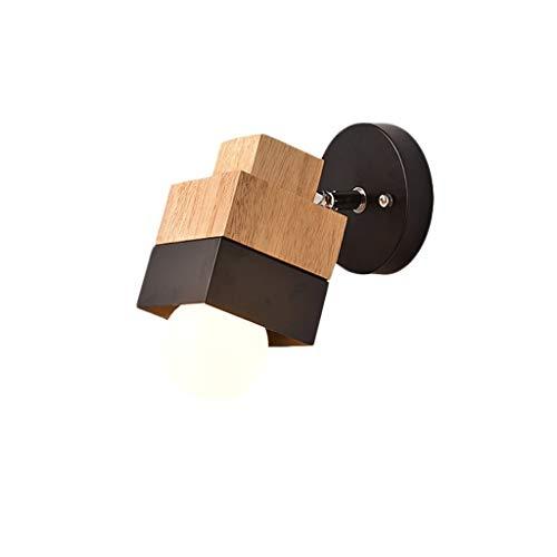 YLCJ wandlamp Nordic hout wandlamp eenvoudige en moderne slaapkamer hoofdeinde wandlamp Creative Living Room TV Study Light (kleur: C)
