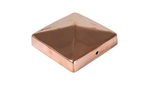 MEIN GARTEN VERSAND 10 x Pfostenabdeckungen/Kappen für Zaunpfosten 9 x 9 cm eckig in Pyramidenform - poliert aus Kupfer im günstigen Set