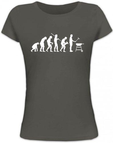 Shirtstreet24, EVOLUTION GRILLEN, BBQ Barbecue Grill Lady / Girlie Funshirt, Größe: XL,dunkelgrau