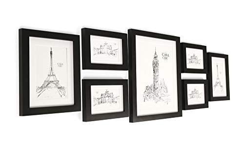 Classic by Casa Chic Bilderrahmen Set aus Echtholz mit Glasscheibe - 7er Set Fotorahmen -Schwarz - enthält Passepartout - Rahmenbreite 2cm