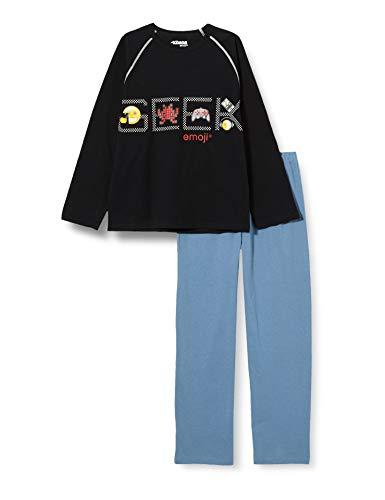 Athena Emoji 7J79 Juego de Pijama, Noir, 14 años para Niños