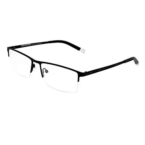 Herren Anti-Blaulicht Brille Halbrahmen Metallbrille Rahmen Computer Computer Lesen Antireflex Blauer Licht Filter Anti-Ermüdung Flachspiegel-A