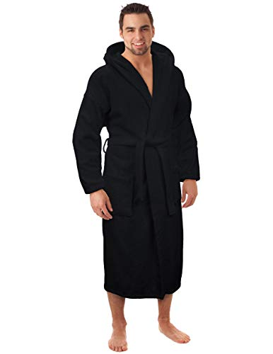 Hooded Terry Bathrobe for Women and Men, Turkish Cotton Terry Cloth...