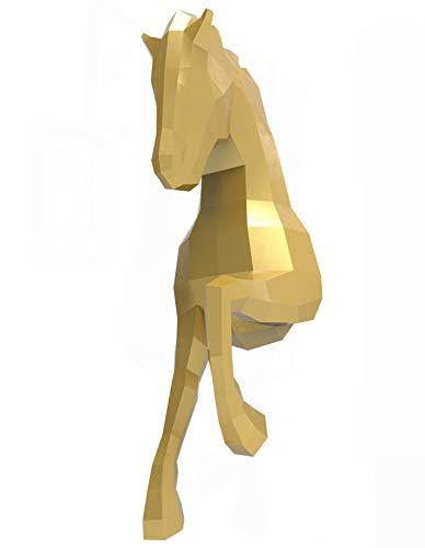 Oh Glam Home Kit DIY Caballo de Pared Papercraft Kit Trofeo de Pared cartón 3D Escultura Origami 3D Puzzle 3D PRECORTADO (Dorado, Crin Dorado)