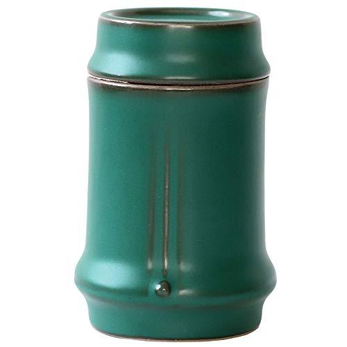 1 tarro de té de cerámica de bambú para festivales y té, contenedor de almacenamiento retro
