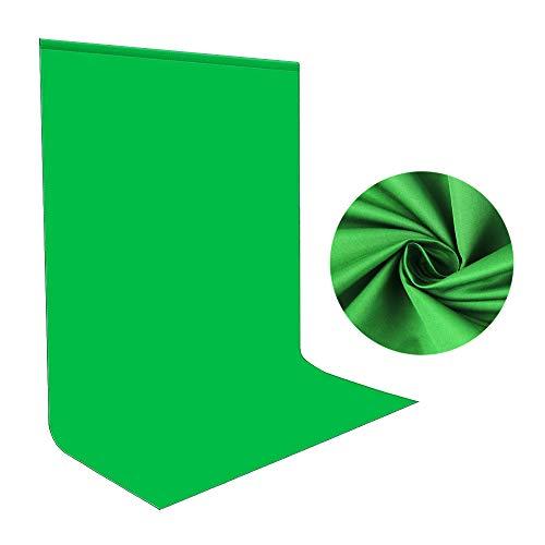 Green Screen Fotohintergrund 1,5x2m, Bonvvie Faltenresistenter Fotografie Hintergrund Grün Chromakey Musselin Hintergrund für Photo Video Studio, Fernsehen, Zoom, YouTube, Online-Meetings