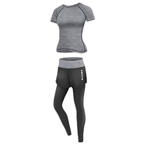 WOOKIT 2-teiliges Yoga-Set Sportbekleidung Kurzarm T-Shirt + Shorts / Hosen Sportbekleidung zum Laufen Radfahren Fitness-C-Grau-3XL