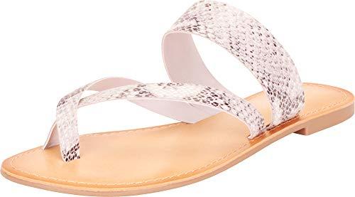 Cambridge Select Damen Slip-On Thong Toe Crisscross Strappy Flat Slide Sandale, (Python Pu Beige), 38 EU