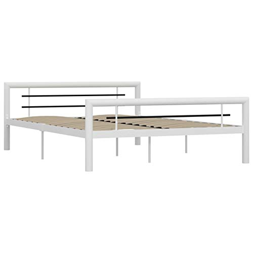 Tidyard Estructura de Cama de Metal Marco de Cama de Dormitorio Estructura Base con Somier Blanco y Negro 160x200 cm