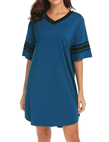 Ekouaer Women's Nightgown Cotton Sleep Shirt V Neck Short Sleeve Loose Comfy Pajama Sleepwear,A_blue,X-Large
