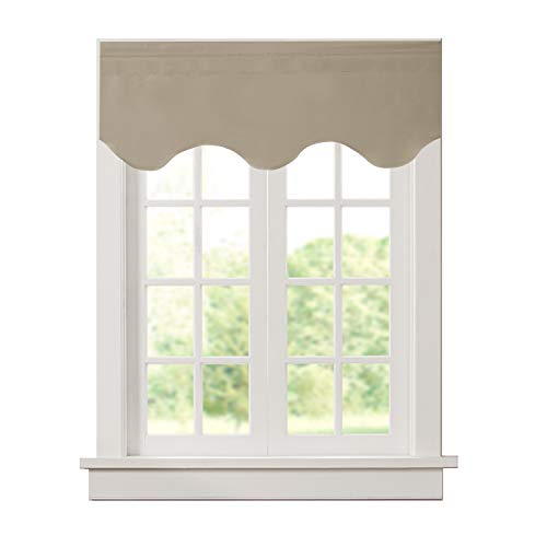 Aquazolax Window Treatments Blackout Scalloped Valance Solid Decorative Scalloped Curtain Valance, 52inch by 18inch, Taupe/Khaki, 1 Piece