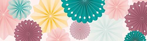 lovely label Bordüre selbstklebend ROSETTEN MEHRFARBIG Wandbordüre Kinderzimmer/Babyzimmer - Wandtattoo Schlafzimmer Mädchen & Junge – Wanddeko Baby/Kinder