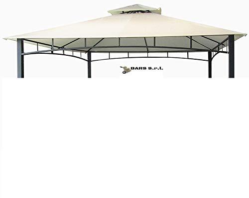 Bars EASYSHOP Telo di Copertura da 220 gr per Gazebo da Giardino 3x3 Mt Colore Ecru con Tetto Camino Antivento Telo Impermeabile Antipioggia PVC