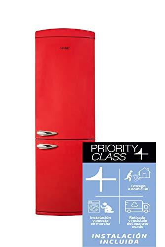 Sauber - Frigorífico Combi SCR190R - Eficiencia energética: A+ - 190x60cm - Color Rojo