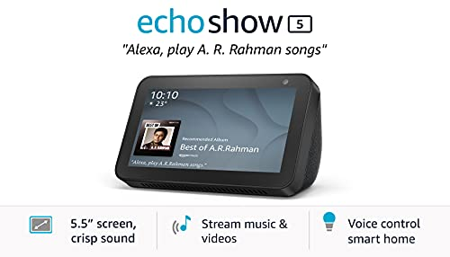 Echo Show 5 (1st Gen, 2019 release) - Smart speaker with Alexa - 5.5' screen, crisp sound and 1MP camera (Black)