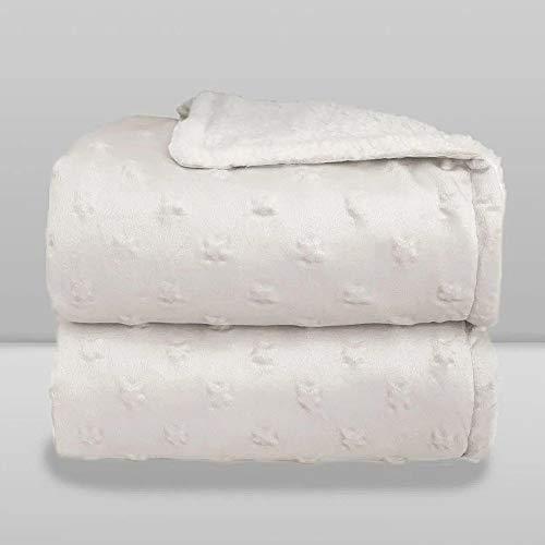 Cobertor Donna Laço Bebê Plush com Sherpa Stars Branco