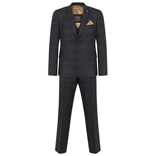 Mens 3 Piece Suit Navy & Orange Check Peaky Blinders Wedding Fitted Suit