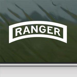 "US Army Ranger Tab Emblem Insignia - White Decal - 6"" Wide Decal Laptop Tablet Skateboard car Windows Sticke"