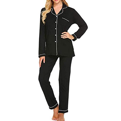 OPAKY Pantalones de Manga Larga a Rayas para Mujer Pijamas Botón Conjunto de Ropa Interior de Solapa Pijama Encaje Conjuntos Sexy e Elegante Manga Pantalon Largos Ropa de Dormir