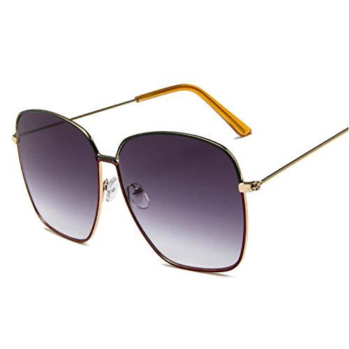 NJJX Gafas De Sol De Gran Tamaño Con Montura Metálica Grande Populares Para Mujer, Gafas De Sol Con Espejos Coloridos Y Vintage, Gafas Femeninas, Verde, Rojo, Gris
