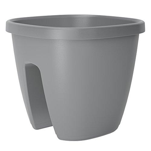 Emsa Geländertopf für den Balkon, 9 Liter, Selbstbewässerungssystem, Dusty Grey, City, 516664