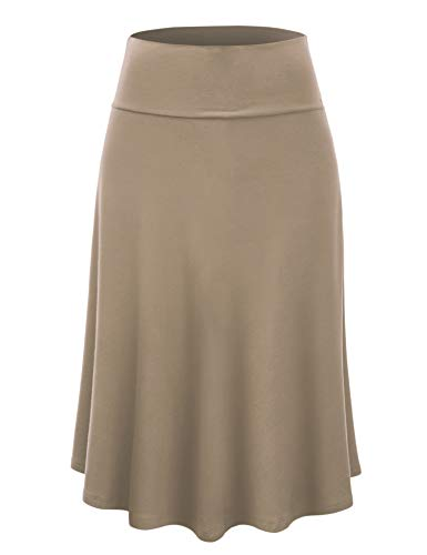 Lock and Love LL WB1105 Womens Lightweight Fold Over Flared Midi Skirt M Taupe