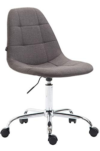 CLP Bürostuhl Reims Mit Stoffbezug I Schreibtischstuhl Mit Gestepptem Sitz I Höhenverstellbarer Arbeitsstuhl Mit Metallgestell, Farbe:dunkelgrau