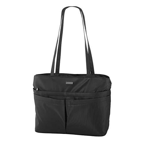 Rada City Shopper Xela 2 Einkaufstasche mit Reißverschluss, Strandtasche/Badetasche für Sommer, Umhängetasche, robustes und wasserabweisendes 600D Polyester, Alltagstasche (schwarz)