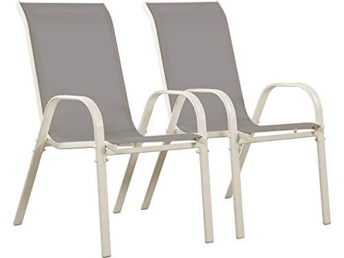 Juego de 2 sillas jardín Textileno Cordoba - Phoenix - Gris claro