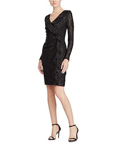 Lauren by Ralph Lauren Women's Lace Embellished Party Dress Black 16