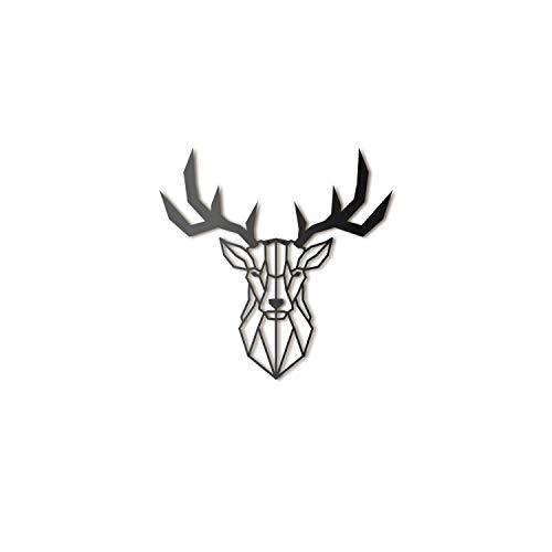 Hoagard Deer Head Metal Wall Art - Decoración geométrica para Pared - Ciervo - Metal - 47x53cm