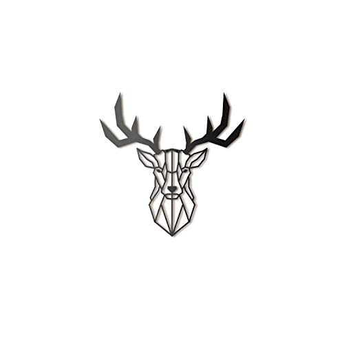 Hoagard Deer Head Metal Wall Art - Decoración geométrica para pared - Ciervo - Metal - 47 x 53 cm