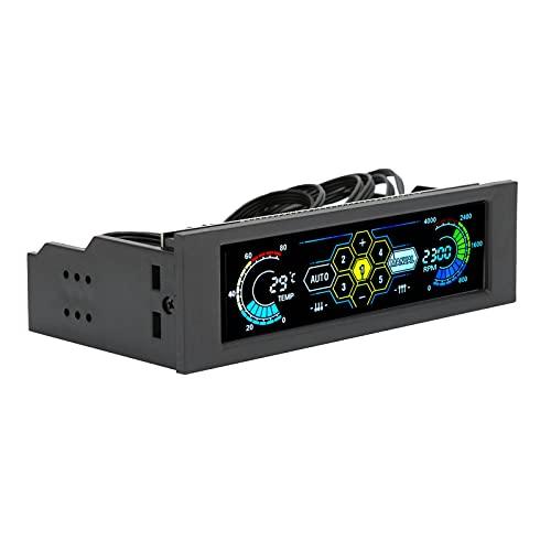 Controlador de velocidad del ventilador de 5 juegos, características de la computadora monitor de temperatura, pantalla de RPM, pantalla de panel de lente de PVC y alarma de falla del ventilador