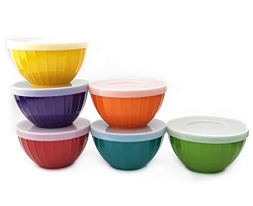 Melamine Fluted Bowls Set with Lids - 6pcs 15 oz Cereal/Prep Bowls, 6 Assorted Color   Break-resistant 100% Melamine Bowls and Plastic Lids   Dishwasher Safe, BPA Free