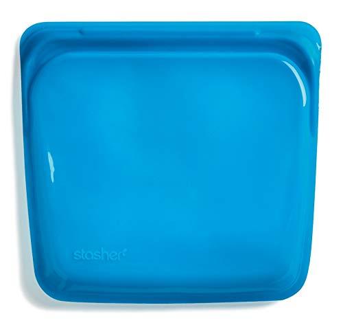 Stasher 982 - Borsa per panini in platino riutilizzabile, per alimenti, per proteggere i dispositivi elettronici, organizzare/viaggiare, 19,05 x 19,05 cm, Agave, in silicone