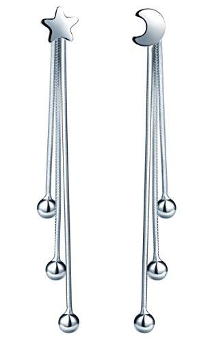Infinito U Pendientes Largos para Mujeres de Plata de Ley 925 Diseño de Luna y Estrellas con 3 Borlas Drop Earring