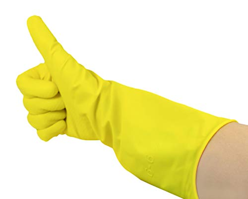 Romed gelbe Haushaltshandschuhe 100% Naturlatex (X-Large), 12 Stück