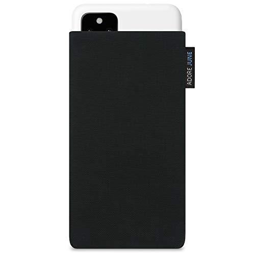Adore June Classic Schwarz Tasche kompatibel mit Google Pixel 4a (5G) Handytasche aus beständigem Cordura Stoff mit Bildschirm Reinigungs-Effekt, Made in Europe