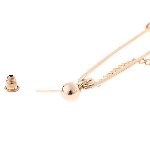 QIANGU Pendientes de Moda, 1 par de Pin de Seguridad Clip Geometría Pendientes de Cadena Larga Joyería de Moda