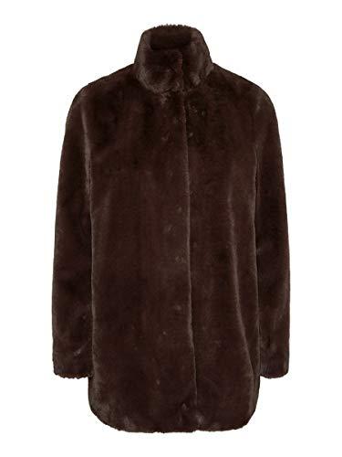 Vero Moda VMTHEA 3/4 Faux Fur Jacket Col Abrigo, Chocolate Plum, M...