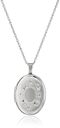 Sterling Silver Oval Hand-Engraved Locket Necklace, 18""