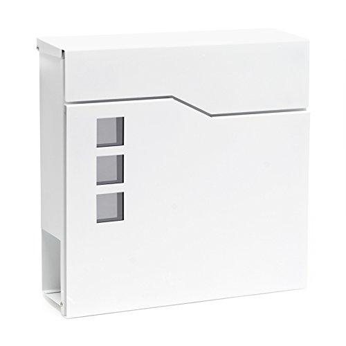 Moderner Design Briefkasten V20 Weiß Wandbriefkasten pulverbeschichtet Zeitungsrolle