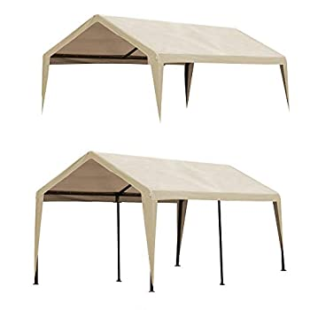 Abba Patio 10 x 20-Feet Carport Replacement Top Canopy Cover for Garage Shelter with Fabric Pole Skirts and Ball Bungees Beige  Frame Not Included