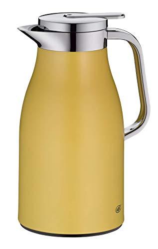alfi Skyline, Thermoskanne Edelstahl gelb 1l mit doppelwandigem alfiDur Vakuum-Hartglaseinsatz. Isolierkanne hält 12 Stunden heiß, ideal als Kaffeekanne oder als Teekanne - 1321.295.100