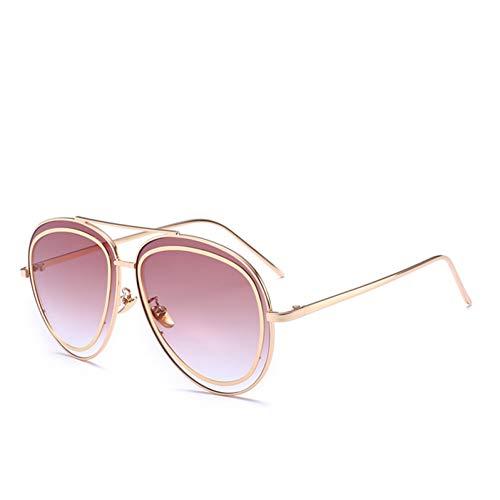 YIERJIU Gafas de Sol Gafas de Sol de Moda Mujeres y Hombres Gafas de Sol con Revestimiento de Espejo Mujeres Famosas Marca Marco Mental Gafas Gafas de Frijoles Gemelos,Purple