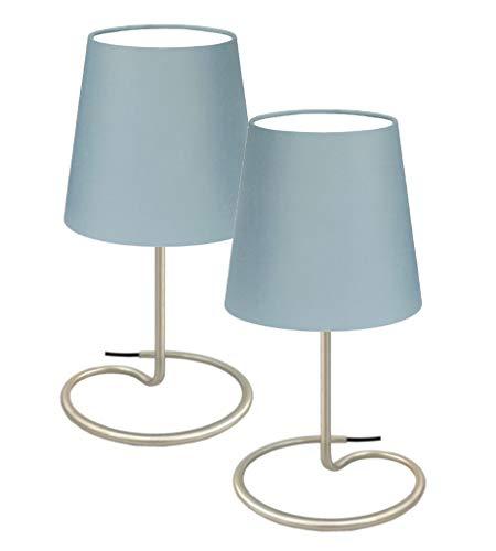"""Trango 2er Pack Tischleuchte, Nachttischlampe, Schreibtisch Leuchte Lampe TG2018-25G I""""GREY"""" I mit Stoffschirm in Grau Ø 170mm, Höhe: 325 mm"""