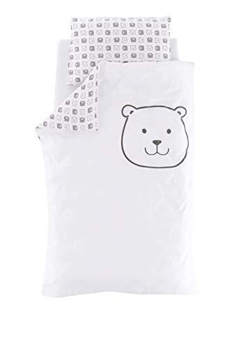 Träumeland TT19102 Baby/Kinder-Bettwäsche aus feinster, kuschelig weicher Baumwolle, Größe 100 x 135 cm + 40 x 60 cm, Design 'kleiner Bär', mehrfarbig