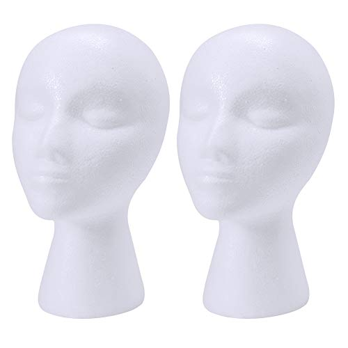 wreatrea 2 Pack Styrofoam Mannequin Head with Female Face - Foam Manikin Head Model Wig/Hat Display Stand - Art Work Painting Novelty (11-inch H)